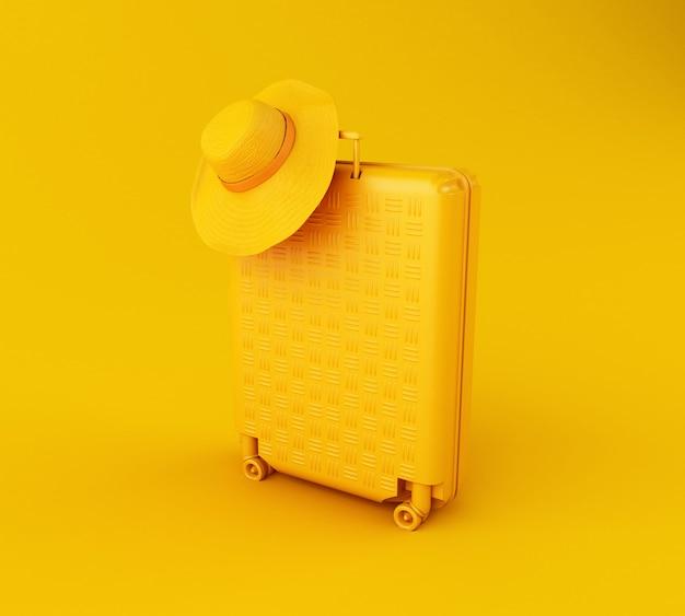 3d-reizen koffer en strooien hoed