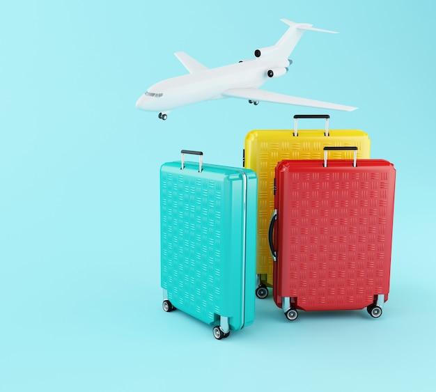 3d-reizen koffer en vliegtuig