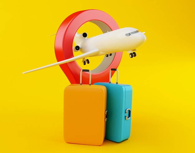 3d-reizen koffer, vliegtuig en kaart aanwijzer.