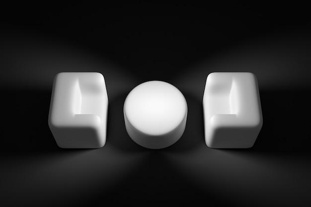 3d render 2 witte cartooneske zachte stoelen staan tegen elkaar, daartussen staat een salontafel. concept van monochrome marshmallow-achtige fauteuils. interview kamer