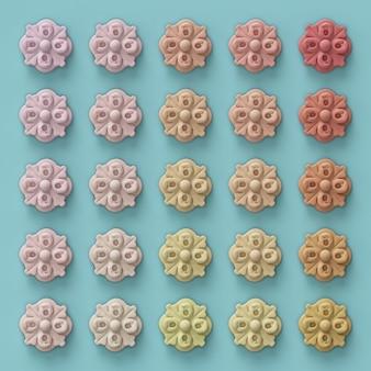 3d render, 25 tinten roze bloemen op blauw patroon