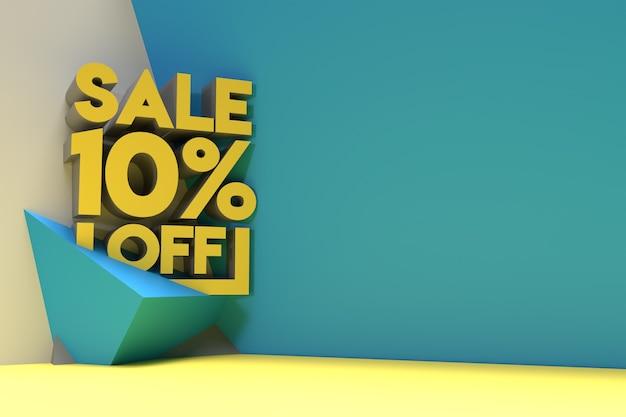 3d render abstract 10% verkoop korting korting banner 3d illustratie ontwerp.