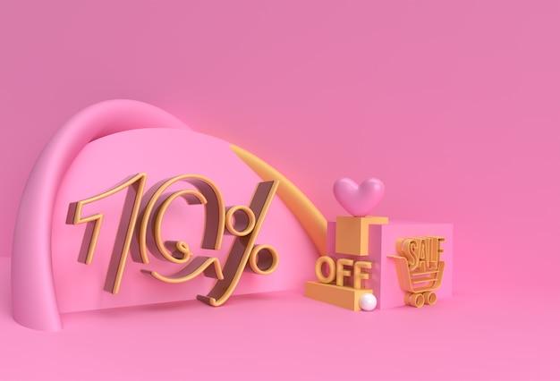 3d render abstract 10% verkoop korting korting display producten adverteren. flyer poster afbeelding ontwerp.