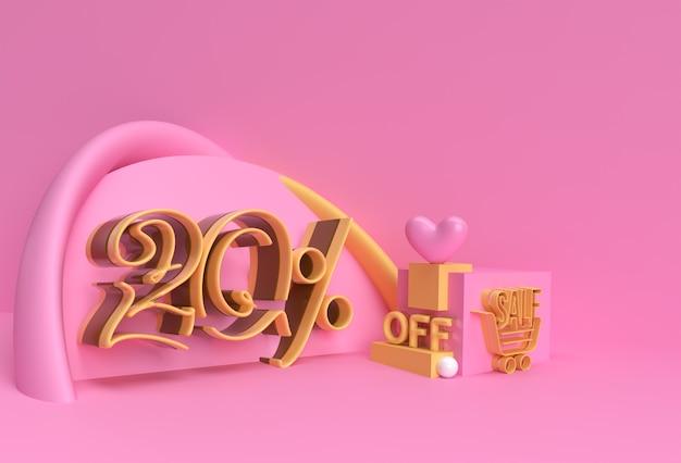 3d render abstract 20% verkoop korting korting display producten adverteren. flyer poster afbeelding ontwerp.