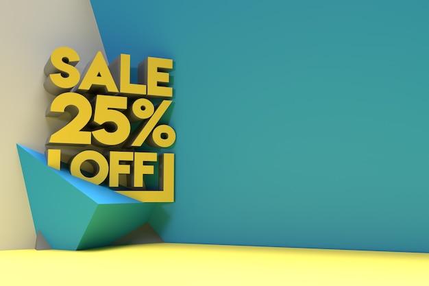 3d render abstract 25% verkoop korting korting banner 3d illustratie ontwerp.