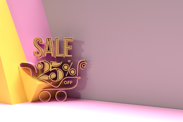 3d render abstract 25% verkoop korting met shopping cart discount banner 3d illustration design.