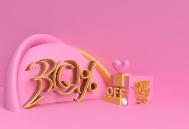 3d render abstract 30% verkoop korting korting display producten adverteren. flyer poster afbeelding ontwerp.