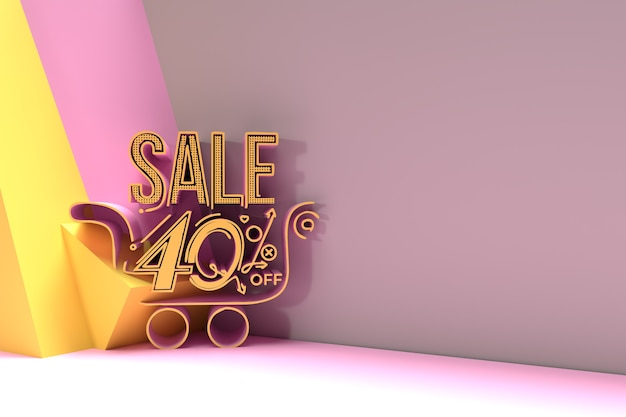 3d render abstract 40% sale off met shopping cart discount banner 3d illustration design.