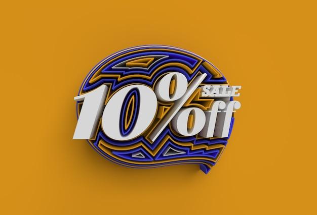 3d render abstract gebroken 10% percentage verkoop korting korting banner 3d illustratie ontwerp.