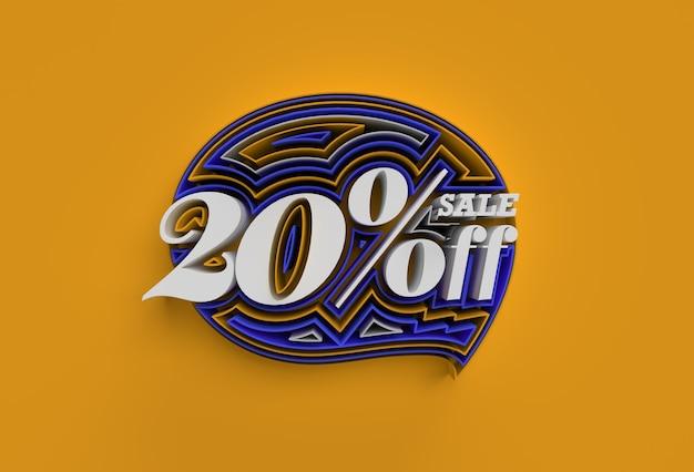 3d render abstract gebroken 20% percentage verkoop korting korting banner 3d illustratie ontwerp.