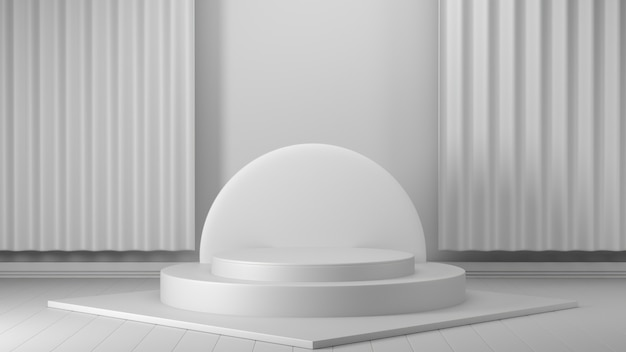 3d render, abstract geometrisch, cilinder podium, minimalistische primitieve vormen, moderne mock up, lege sjabloon, gouden metalen rooster, gaas, lege showcase, winkeldisplay