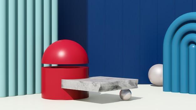 3d render abstract surrealistisch beeld podium met blauwe en rode achtergrond product display advertentie