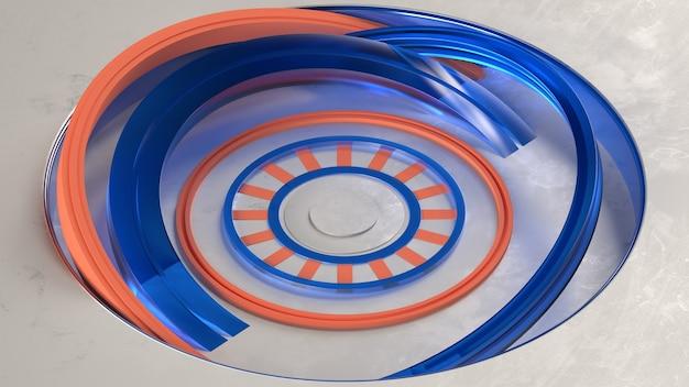3d render abstract voetstuk midden blauw oranje