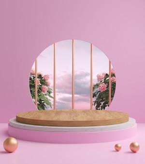 3d render abstracte achtergrond, cosmetische producten podium scène met platform, voor show cosmetisch product.