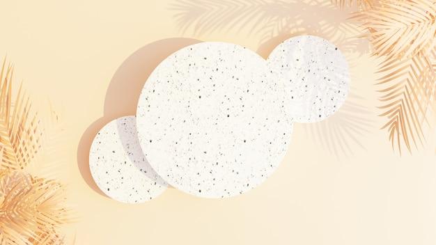 3d render abstracte achtergrond met geometrische vormen en palmbladeren