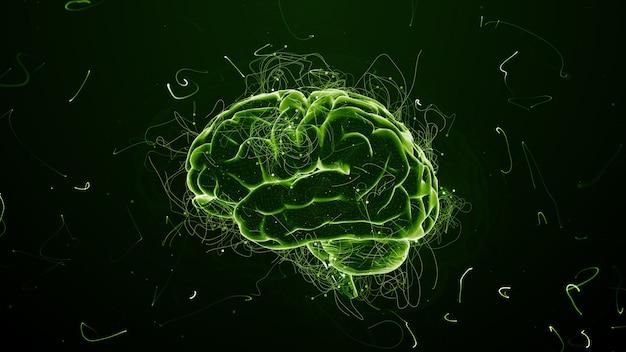 3d render abstracte achtergrond met hersenen die omringd zijn met deeltjes met gedraaide paden. sporen en deeltjes zijn symboliserende ideeën.