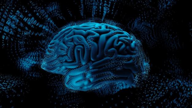 3d render abstracte achtergrond met hersenen omringd met veelhoekige structuren. complexe geest concept. technologie en hersenen.