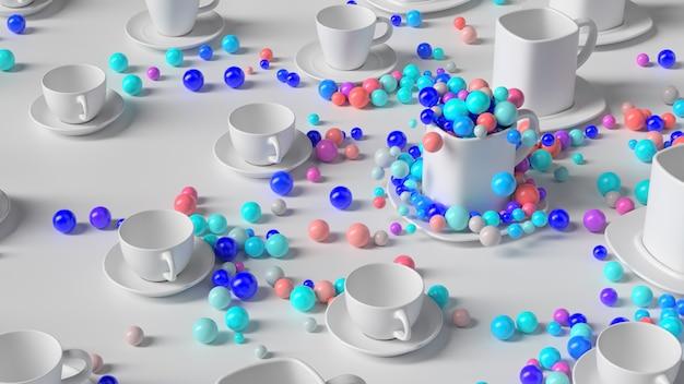 3d render abstracte achtergrond met kopjes. kleurrijke bollen springen uit een lege beker. leuke en positieve achtergrond.