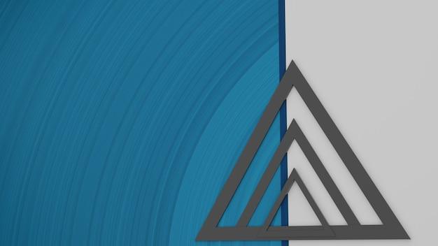 3d render abstracte blauwe en witte achtergrond met zwarte geometrische vormen
