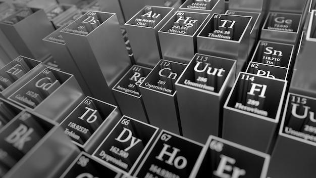 3d render abstracte chemische achtergrond. periodiek systeem der elementen. het tafelfragment van mendelejev. metalen materiaal.