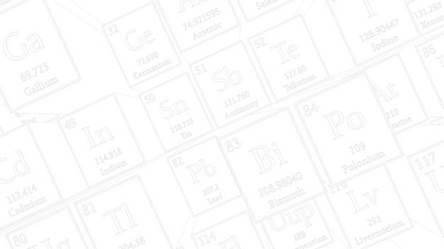 3d render abstracte chemische achtergrond. periodiek systeem der elementen. het tafelfragment van mendelejev.