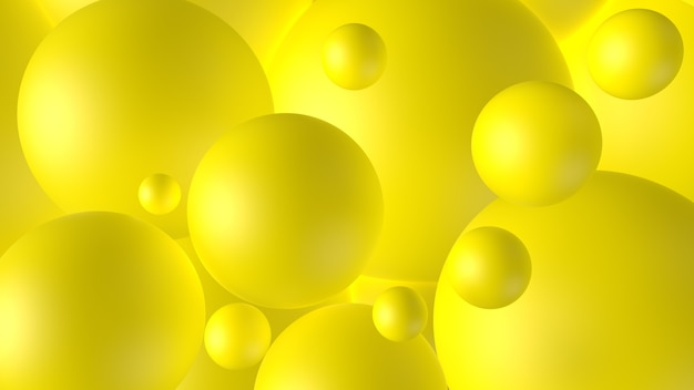 3d render abstracte compositie gele bollen licht verlichting volume