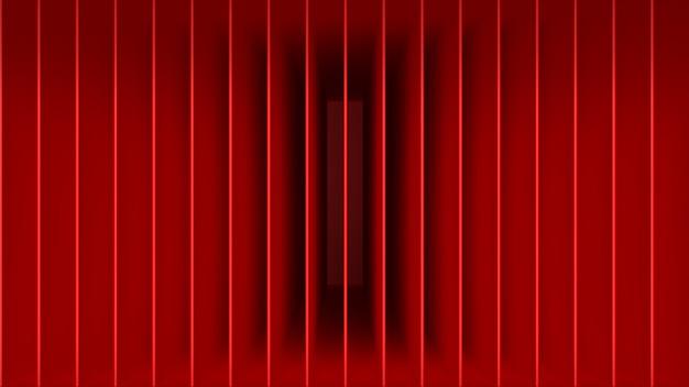 3d render abstracte compositie rode lijnen geometrische vorm