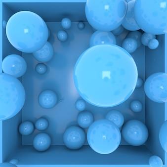 3d render abstracte compositie van ballen die in een doos vallen