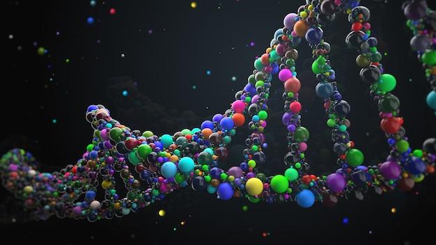 3d render abstracte dna-streng gemaakt van bollen. complex genconcept gemaakt van glanzende eenvoudige primitieven. wetenschap en medisch thema.