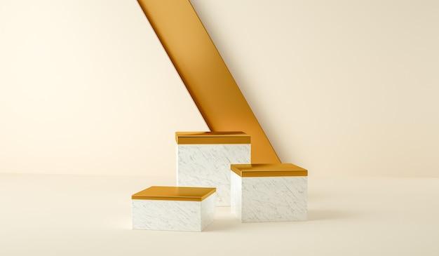 3d render, abstracte en moderne minimalistische achtergrond met wit marmer en goud. leeg platform