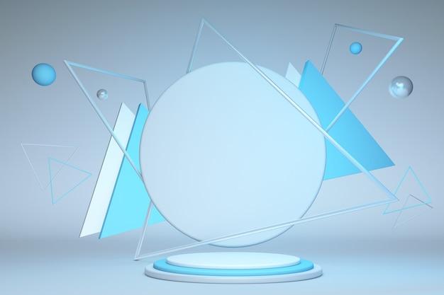 3d render abstracte geometrische driehoek frame blauwe ronde voetstuk geïsoleerd op pastel achtergrond modern minimaal concept leeg platform leeg podium leeg podium premium design