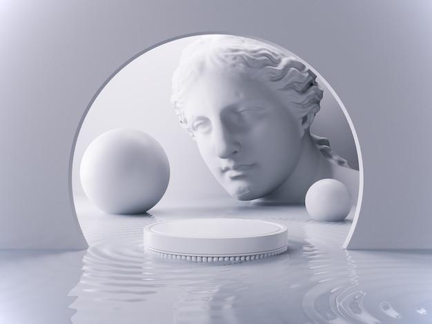 3d render abstracte geometrische vorm sculptuur gezicht en podium in een geheel witte achtergrond