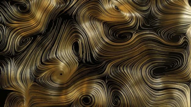 3d render abstracte gouden ronde netwerk achtergrond
