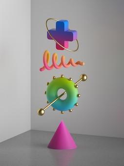 3d render, abstracte kleurrijke geometrische vormen, minimale moderne compositie, antizwaartekrachtbalansconcept, geassorteerde zwevende ontwerpelementen, levendige neongradiënt, postmoderne kunstwerken