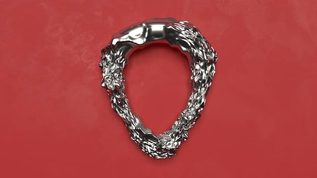 3d render abstracte metalen vorm op rode vloer fluwelen decoratie zilver platina