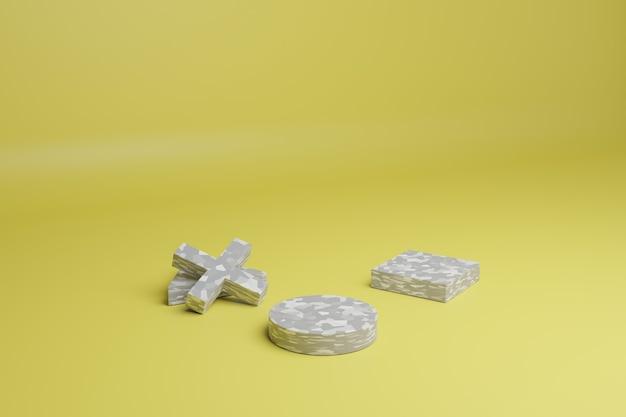 3d render abstracte minimale scène met grijze geometrische vormen op een gele achtergrond lege showcase