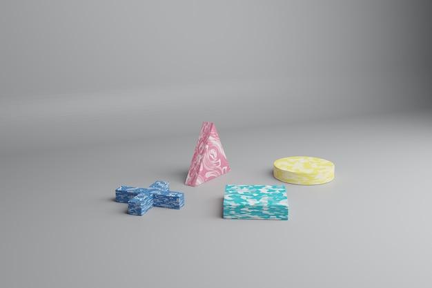 3d render abstracte minimale scène met veelkleurige geometrische vormen op een grijze achtergrond