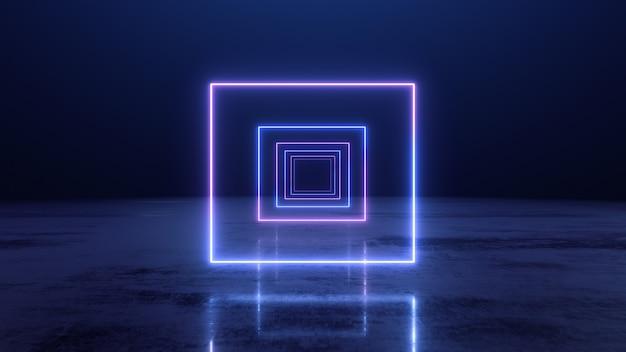 3d render abstracte neon lijnen vierkante tunnel