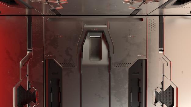 3d render abstracte reflecterende sci-fi panelen. technologie gedetailleerde achtergrond.