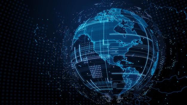 3d render abstracte wereldbol met gedetailleerde texturen. veel deeltjes. landengrenzen zijn zichtbaar. digitaal technologieconcept.