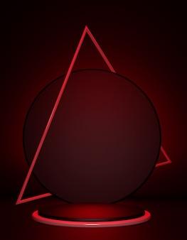 3d render abstracte zwarte en rode achtergrond met driehoek frame lege poster winkel product display showcase stand leeg podium leeg voetstuk ronde podium verticaal