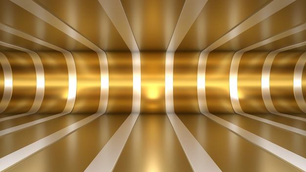 3d render achtergrond tunnel kamer ruimte verlichting reflecties goud wit diepte lijnen buigen vloer
