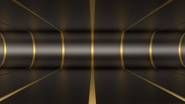 3d render achtergrond tunnel kamer ruimte verlichting reflecties zwart goud diepte lijnen buigen vloer