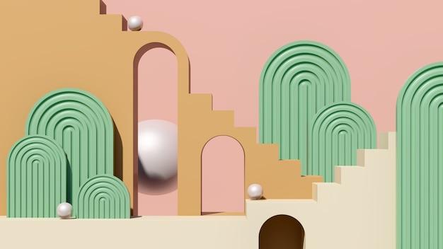3d render afbeelding crème bruin trap podium met groen roze achtergrond product display advertentie