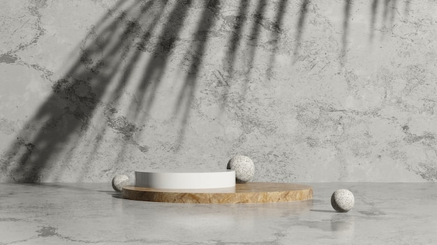 3d render afbeelding hout en wit podium met palm schaduw en grijze marmeren achtergrond product display