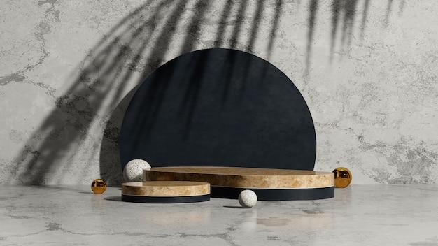 3d render afbeelding houten podia met palm schaduw zwart porselein en marmer achtergrond product display