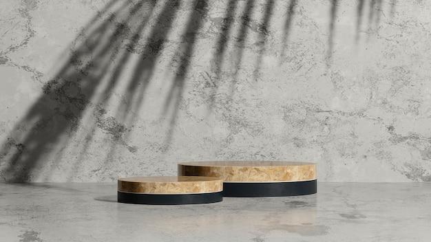 3d render afbeelding houten podium met palm schaduw en grijze marmeren achtergrond product display