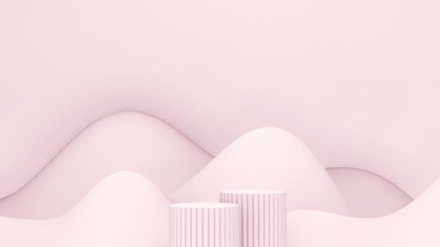 3d render afbeelding lichtroze podium met lichtroze bergvormige achtergrond voor productweergave adv