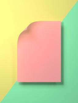 3d render afbeelding van kleurrijke pastel blanco papier voor gezette tekst of product. creatieve plat lag render afbeelding van blanco papier mockup.