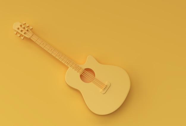 3d render akoestische gitaar op gele achtergrond 3d illustratie design.